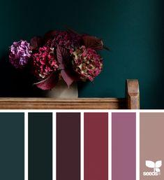 61 New Ideas apartment color schemes design seeds Apartment Color Schemes, Bedroom Color Schemes, Bedroom Colors, Interior Design Color Schemes, Colors For Bedrooms, Dark Teal Bedroom, Jewel Tone Bedroom, Burgundy Bedroom, Mauve Bedroom