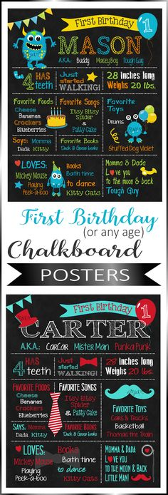 Share your first year memories and milestones with all your party guests with these beautifully crafted first birthday chalkboard posters.