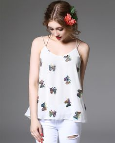 Shop casual white chiffon butterfly embroidery sun-top. Find latest oriental fashion products from idreammart.com.