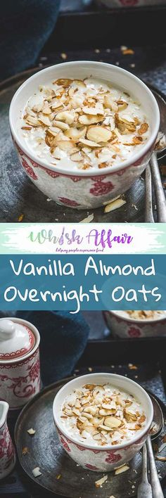 Vanilla Almond Overnight Oats Vanilla Almond Overnight Oats makes for a deliciously healthy breakfast in just 5 minutes. Make it a night before and eat this healthy treat for your breakfast. via Source by whiskaffair Healthy Breakfast Muffins, Best Breakfast Recipes, Make Ahead Breakfast, Brunch Recipes, Breakfast Ideas, Baked Oatmeal Recipes, Oats Recipes, Yummy Recipes, Vanilla Overnight Oats