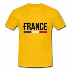 T-shirt Jaune France bleu blanc rouge France & Drapeau Français