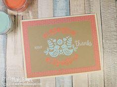 Folk Art Bird Card by Naki Rager | Cottage Garden stamp set and die set by Newton's Nook Designs #newtonsnook
