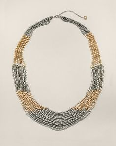 """Chico's Yvonne Multi-Strand Necklace #chicos. The long chain necklace in silver and gold tones: make it modern and mix your metals. Adjusts from 34"""" to 38"""". Acrylic, glass, and metal. Imported."""