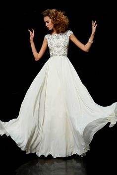 Modest prom dress love!!!!!!! Flamboyant A Line High Scoop Neck Floor Length Ivory Chiffon Beading Dress