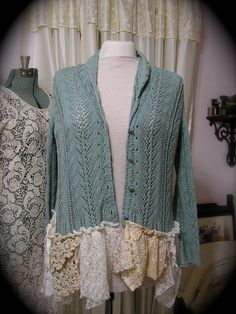 Shabby Lagenlook Sweater, altered upcycled lace crocheted doily hem ruffles, earthy natural, MEDIUM on Etsy, $113.00