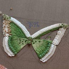 Скоро будет еще одна весенняя бабочка. #шелк #вышивка #люневильскаявышивка #люневильскийкрючок #hautecoture #handembroidered #paillettes #freshwaterpearls