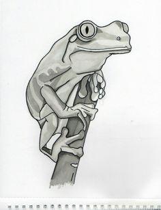 Frog, tattoo, project, tatuaż, żaba, zwierze, rysunek