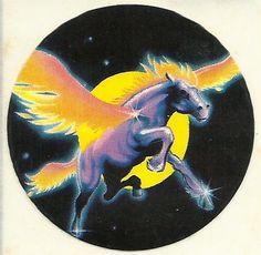 Vintage 80's Lisa Frank Pegasus Sun Sticker by Stuckonstickers, $3.25