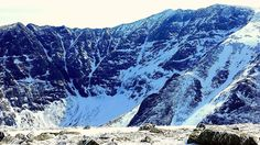 """Cathedral Ridge ascending at a right angle and the famous """"Chimney"""" gulley on the left between Pamola and Chimney peaks.  As posted on FB BU: Alan Look, Maine Caught on Camera"""