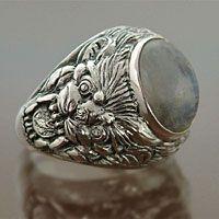 Men's moonstone ring, 'Lion's Charisma' by NOVICA