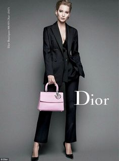 Modeling the Be Dior bag: With her short blonde locks slicked into an effortlessly chic style, purple shadow on her lids and contoured cheeks, the Oscar winner is simply stunning in the Autumn/Winter 2015 shoot