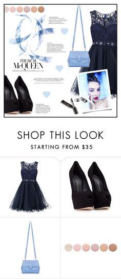 """Dark Blue Gala Dress * McQUEEN *"" by irisotten ❤ liked on Polyvore featuring Laona, Giuseppe Zanotti, Versace, Deborah Lippmann and Bobbi Brown Cosmetics"