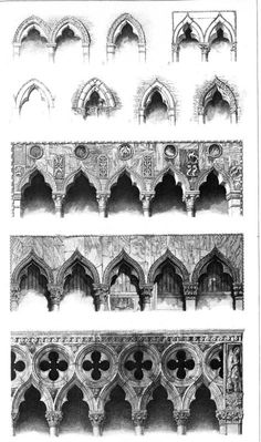 "Gothic Capitals, by John Ruskin from Stones of Venise, -""Ruskin loved the medieval architecture that we call Gothi. Islamic Architecture, Architecture Drawings, Classical Architecture, Historical Architecture, Amazing Architecture, Architecture Details, Interior Architecture, Gothic Revival Architecture, Fashion Architecture"