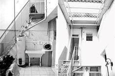 Antes: La escalera era de chapa, angosta y súper empinada. Las paredes tenían humedad y los pisos estaban revestidos con cerámicos muy desgastados..