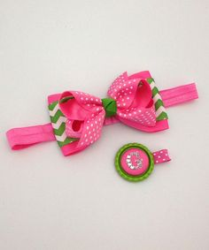 Loving this Pink & Lime Zigzag Bow Headband & Initial Clip on #zulily! #zulilyfinds