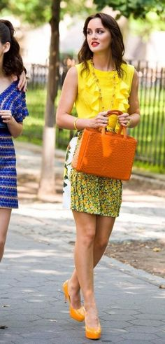Looking for a similar yellow ruffle top as seen on Leighton Meester and also the orange pumps and handbag