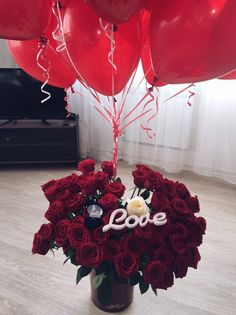 Love Balloons and red flowers😍 Flower Box Gift, Flower Boxes, Red Flowers, Red Roses, Flower Art Images, Bloom Where Youre Planted, Luxury Flowers, Rose Gift, Love Rose