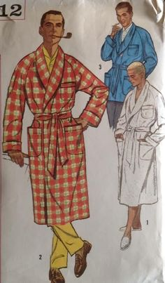 Vtg 1960s Simplicity 2312 Sewing Pattern Size Large Bathrobe Robe Smoking Jacket