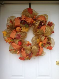 Fall Deco Mesh Wreath by wreathsbyallie on Etsy, $40.00