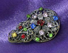 Antique filigree jewelled clip by RAVERETRO on Etsy