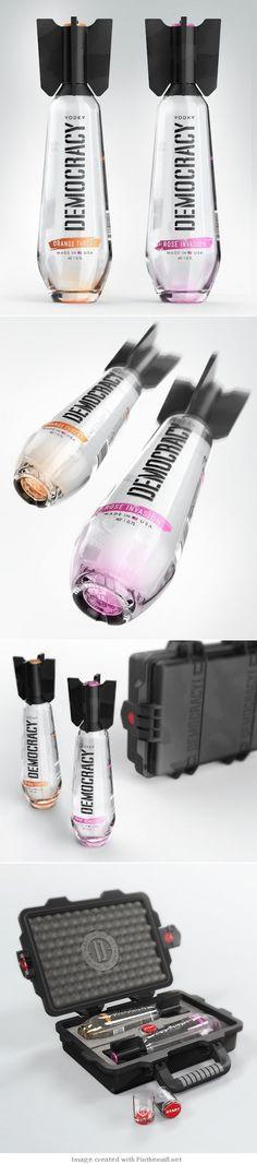 Packaging de produits - Bouteille de Vodka Democracy, ogive concept (Design By Studio Designers: Arthur Schreiber, Galya Akhmetzyanova Maxim Kulikov) Cool Packaging, Beverage Packaging, Bottle Packaging, Brand Packaging, Design Packaging, Product Packaging, Alcohol Bottles, Liquor Bottles, Label Design
