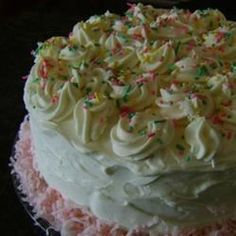 This Is A Great Showpiece Of A Cake Top With White Mountain Frosting