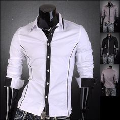 Jeansian Mens Slim Dress Casual Shirts Tops Double Lines 5 Colors 5 Sizes Z010 #Jeansian #ButtonFront
