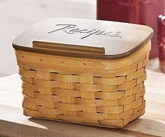 NEW Longaberger Large Recipe Basket with Engraved WoodCrafts Lid Set. Store your recipe cards or printed recipes from cooking sites in our beautiful, handcrafted Recipe Basket with Engraved WoodCrafts
