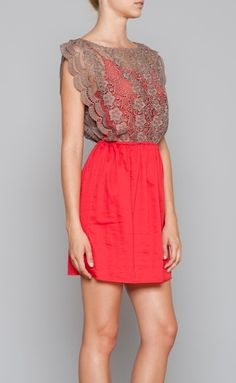 Bright Coral & Nude Lace Dress