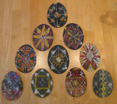 Russian Egg designs on paper using wax and watercolor paint.  Done by fourth graders at SunRidge Waldorf Charter