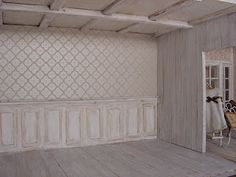 "Shabby panelling ""tutorial"" Great miniature rooms for this house too"