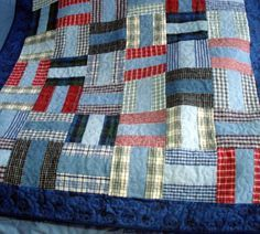 Pattern for 'Denim Rails' Recycled Denim Quilt by BackPocketDesign Man Quilt, Boy Quilts, Scrappy Quilts, Quilt For Men, Patchwork Quilting, Longarm Quilting, Flannel Quilts, Plaid Quilt, Denim Quilts