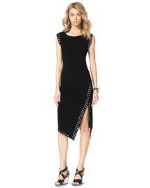-4ZD3 MICHAEL Michael Kors  Grommet-Trim Fitted Dress
