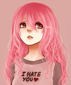 Imagem de anime, girl, and pink hair Pink Hair Anime, Anime Girl Pink, Anime Art Girl, Anime Girls, Girl With Pink Hair, Pink Girl, Anime Girl With Black Hair, Rose Girl, Pelo Anime