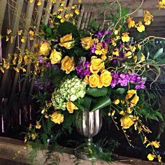 Yellow and purples centerpiece