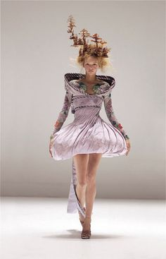 Alexander McQueen Ensemble It's Only a Game, spring/summer 2005 Dress and obi-style sash of lilac and silver brocade; ...