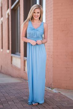 Twist Of Fate Maxi Dress, Sky Blue || Call it a twist of fate, call it a miracle, but if you got here before this gorgeous maxi dress sold out you better thank whatever power you believe in! The stunning color will catch the attention of anyone nearby and you will not be able to get enough of that soft material! It's an absolute dream to wear. :D