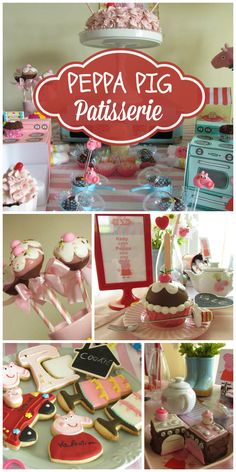 A Peppa Pig Patisserie baking themed girl birthday party with sweet decorations and treats! See more party ideas at CatchMyParty.com!