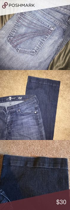 """7 for all mankind jeans 7 for all mankind bell bottom jeans, size 28. hemmed the bottom about 2 inches awhile ago. I am 5'3"""" and they are a little short on me now. hem can be taken out. not quite sure what the inseam is 7 For All Mankind Pants"""
