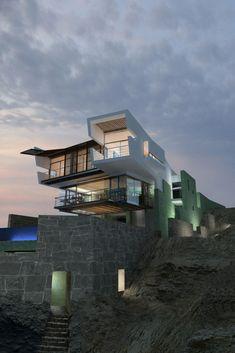 Lefevre Beach House Punta Misterio, Peru A project by: Longhi Architects Architecture Beautiful Architecture, Beautiful Buildings, Contemporary Architecture, Art And Architecture, Beautiful Homes, Architecture Interiors, Design Interiors, Beautiful Beach, Villa