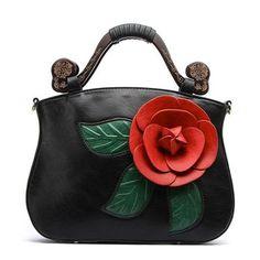 Brenice Vintage Handbag Rose Decorative For Women As low as $124.00 Tote Handbags, Cross Body Handbags, Purses And Handbags, Leather Handbags, Trendy Handbags, Crossbody Bag, Tote Bag, Satchel, Popular Bags
