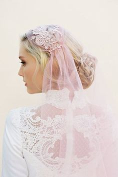 If you're going to wear a veil, why not rock an embroidered, pink, cap veil for a max amount of charm and style?Next: How To Make A Summer Floral Boutonniere At Home #refinery29 http://www.refinery29.com/alternative-wedding-headpieces#slide-9