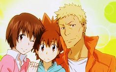 Iemitsu, Nana, and Tsuna Sawada from Katekyo Hitman Reborn (SO CUTE!!! X3)
