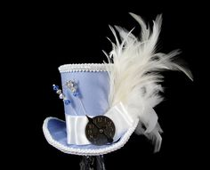 Light Blue and White Steampunk Empress Collection Mini Top Hat Fascinator Alice in Wonderland Mad Hatter Tea Party Derby Hat #steampunkhat