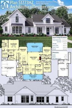 Plan 51773HZ: 4 Bed Modern Farmhouse With Bonus Over Garage