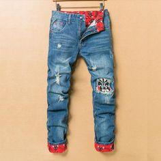 5d0b82bde43 2017 Vintage Distressed Ripped Jeans Men Straight Slim Denim Trousers Light  Blue Cuffs Retro Casual Biker