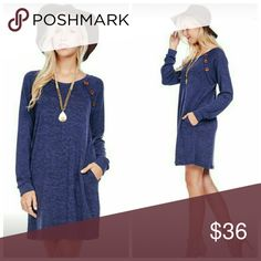 "Navy Long Sleeve Sweater Dress Long sleeve tee sweater dress  96% Polyester 4% Spandex   Made in USA  Small Measurements  Bust 36""  Length 33"" Hips 40""   Medium measurements  Bust 38""  Length 33"" Hips 42""   Large measurements  Bust 40-41""  Length 33"" Hips 44"" Dresses Long Sleeve"