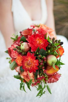 Coral Floral Inspiration by Nickole Ramsay Photography on Bridal Musings #red #coral #berries #floral