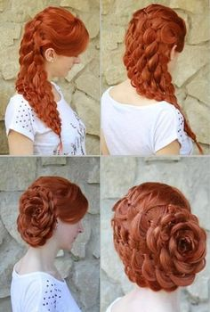 How to, tutorial for long hair. Floral style, great for weddings and special occasions.good for red hair! Pretty Hairstyles, Girl Hairstyles, Braided Hairstyles, Wedding Hairstyles, Vintage Hairstyles, Style Hairstyle, Rose Hairstyle, Victorian Hairstyles, Princess Hairstyles