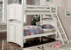 This pretty bunk bed set will be a wonderful addition to the youth bedroom in your home. This bunk has a classic style, with clean lines, and arched louvered ends, creating a charming beach inspire… Twin Full Bunk Bed, Full Size Bunk Beds, Bunk Bed Sets, White Bunk Beds, Ikea Bunk Bed, Wood Bunk Beds, Loft Beds, Convertible Bunk Beds, White Shutters